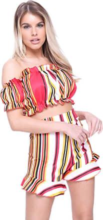 Girly HandBags Striped Bardot Co-ord - Red