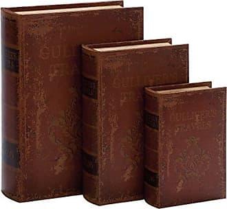 UMA Enterprises Inc. Faux Leather Book Boxes (Set Of 3), Brown
