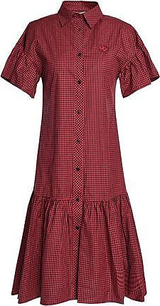 McQ by Alexander McQueen Mcq Alexander Mcqueen Woman Appliquéd Gingham Cotton-poplin Shirt Dress Red Size 38