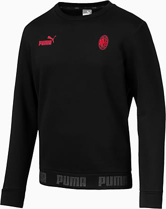 Puma AC Milan Mens Football Culture Sweater Shirt, Black/Tango Red, size 2X Large, Clothing