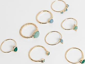 Asos Curve ASOS DESIGN Curve - Confezione da 8 anelli con pietre in tonalità verdi oro
