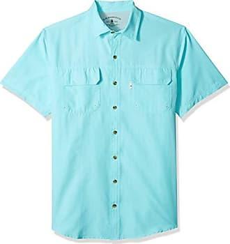 G.H. Bass & Co. Mens Big and Tall Explorer Short Sleeve Button Down Fishing Shirt, Aqua Splash, 2X-Large