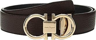 Salvatore Ferragamo Adjustable/Reversible Rose Gold Double Gancini (Hickory/Nero) Mens Belts
