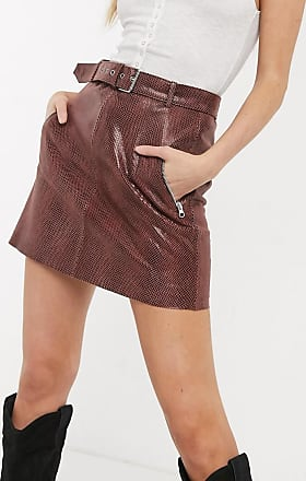 Object leather mini skirt in brown snake-Red