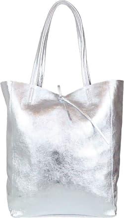 Girly HandBags Girly HandBags Open Top Genuine Leather Handbag - Metallic Silver