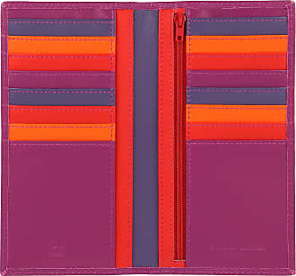 DuDu Portafoglio Donna Anti RFID in Pelle Colorato Grande con 16 Tasche Porta Carte di credito Tessere Fucsia