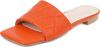 Mediffen Womens Summer Slippers Open Toe Fashion Outdoor Indoor Slipeprs Ladies Casual Slippers Comfort Summer Shoes Orange Size 34 Asian