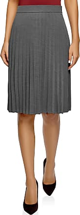 oodji Collection Womens Knee-Length Pleated Skirt, Grey, UK 16 / EU 46 / XXL