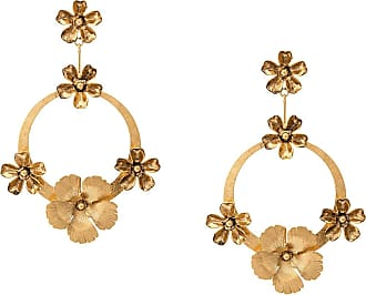 Jennifer Behr Par de brincos de argola florais - Dourado