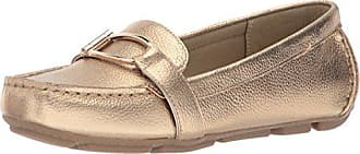 cd77b8f37af Anne Klein Womens Petra Leather Driving Style Loafer Gold