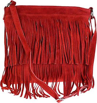 Girly HandBags Girly HandBags New Large Genuine Suede Fringe Shoulder Bag Crossbody Slouch Elegant Designer Womens Fashion - Red