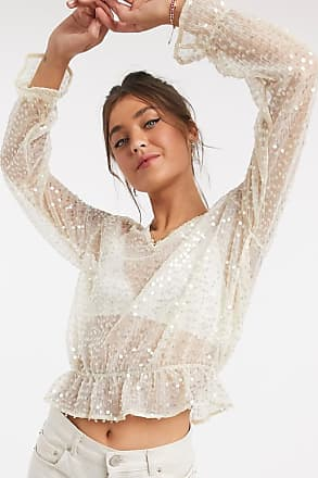 Pimkie sequin detail blouse in gold