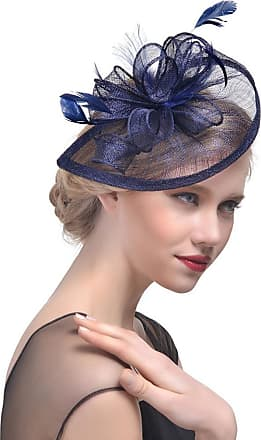 QUINTRA Women Flower Mesh Ribbons Feathers Headband Cocktail Tea Party Hat Headwear (Navy)