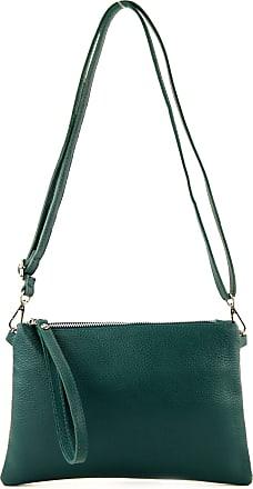 modamoda.de T186 - Italian Clutch/Shoulder Bag Leather Medium, Colour:Petrol