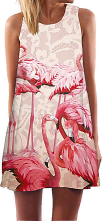 Ocean Plus Womens Summer Casual Top Flamingo A-Line Sleeveless Dresses Leaves Cover-up Western Without Sleeves Beach Dress Party Dress (XXL (UK 16-18), Red Flami
