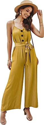 NA Women Jumpsuit Summer Baggy Wide Leg Sleeveless Romper Loose Casual Camisole Strap Strappy Bodysuit Party Elegant Onepiece Beachwear Yellow