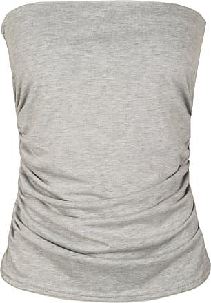 WearAll Plus Size Womens Plain Black Bandeau Strapless Ladies Boob Tube Top - Light Grey - 24-26