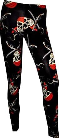 Insanity Pirate Skull Printed Leggings, Black, Medium / Large