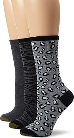 Gold Toe Womens Animal Print 3 Pair Fashion Pack Dress Socks, Black/Charcoal/Azalea, 9-11