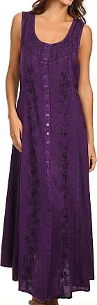 Sakkas 15221 - Maya Floral Embroidered Sleeveless Button Up Rayon Dress - Purple - 1X/2X