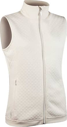 Glenmuir Ladies LF2588ZT Embossed Diamond Zip Front Performance Mid Layer Gilet Ivory XL