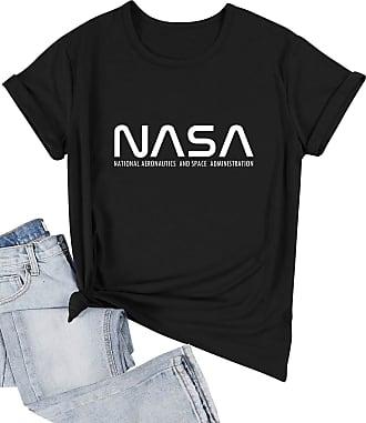 Dresswel Women NASA T-Shirt Crew Neck Short Sleeve Tee Shirts Ladies Summer Tops Blouse Black