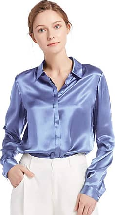 LilySilk Womens Charmeuse Silk Blouse Long Sleeve Ladies Top Shirt 100% Pure 22 Momme Grade 6A Silk (XL/18, French-Blue)