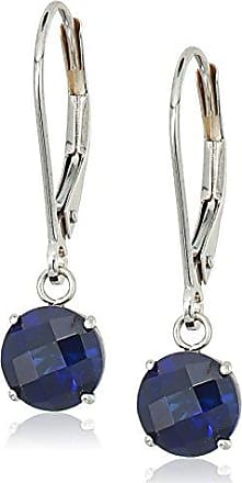 Amazon Collection 10k White Gold Round Checkerboard Cut Created Blue Sapphire Leverback Earrings (6mm)