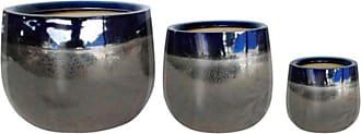 Three Hands Blue and Silver Ceramic Planter - Set of 3