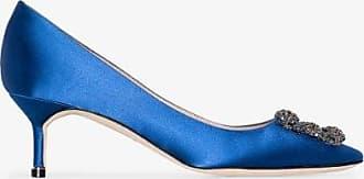 Manolo Blahnik Womens Blue Manolo Hangisi 50 Stn Ptoe Pmp W Jwl Bkl