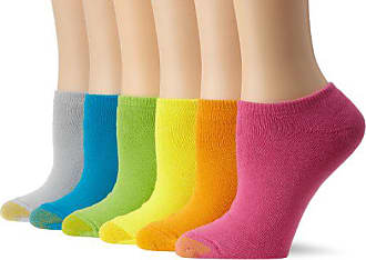 Gold Toe Womens 6-Pack Sport Cushion No Show Sock, Brighht Mix, Shoe Size: 6-9