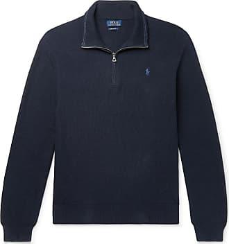 Polo Ralph Lauren Waffle-knit Cotton Half-zip Sweater - Navy