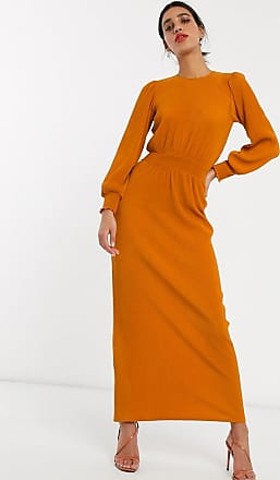 Asos high neck shirred waist plisse maxi dress in rust