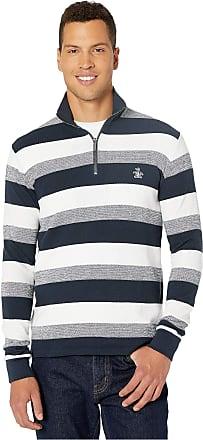 Original Penguin Mens Long Sleeve Quarter Zip Pullover Sweater, Dark Sapphire Stripe, Large