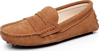 Jamron Womens Classic Suede Penny Loafers Comfort Handmade Slipper Moccasins Tan 24208 UK6.5