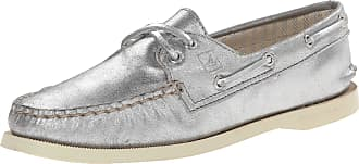Sperry Top-Sider Sperry Girls A/O 2-Eye Metallic Kid Suede Silver 7.5 M (B)