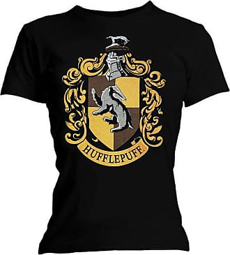 Harry Potter Womens Graphic Printed Assorted T- Shirt Hufflepuff - Black -Size - X-Large