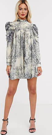 In The Style x Lorna Luxe puff sleeve smock dress in blue floral print-Multi