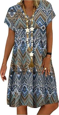Yidarton Womens Summer Casual V Neck Short Sleeve Dress Loose Patchwork A-Linie Midi Dress (Blue, XX-Large)