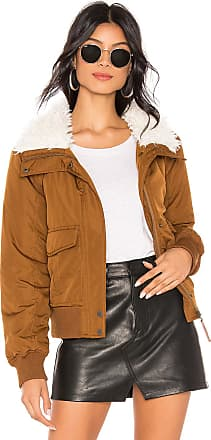Sanctuary Aviator Flight Jacket With Faux Fur Collar in Cognac