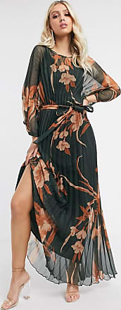 Asos blouson pleated maxi dress with self belt in floral print-Multi