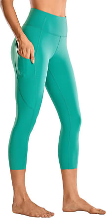 CRZ YOGA Womens Naked Feeling High Waist Crop 3/4 Gym Leggings Running Yoga Capri with Side Pocket 19 Inches Teal Shadow 10