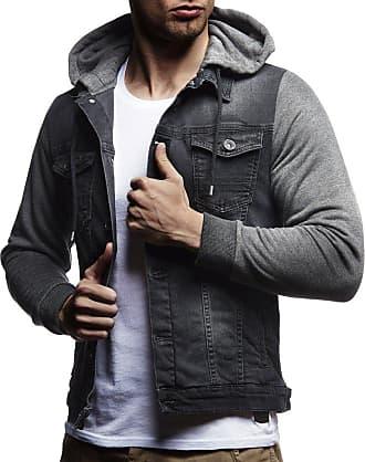 LEIF NELSON Mens Denim Jacket Hoodie LN-5615 Anthracite Medium