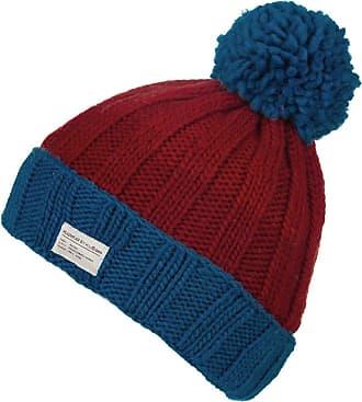 KuSan Moss Yarn Turn Up Bobble Beanie Hat (PK1525) (Blue/Red)