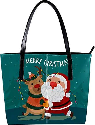Nananma Womens Bag Shoulder Tote handbag Zipper Purse Top-handle Zip Bags - Santa Claus Embracing Reindeer