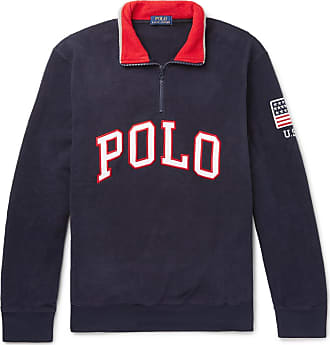 Polo Ralph Lauren Logo-appliquéd Fleece Half-zip Sweatshirt - Navy