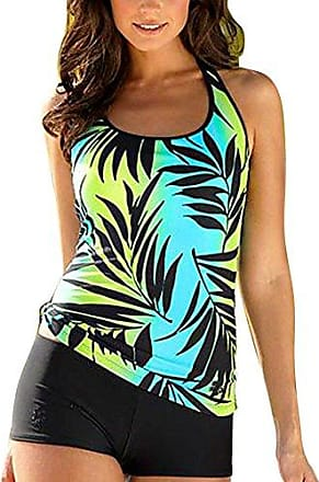 4576fc20a689ce Highdas Damen Oversize Badeanzug Elegant Printing Tankinis Bademode große  größen Bikini-Sets Top + Slip