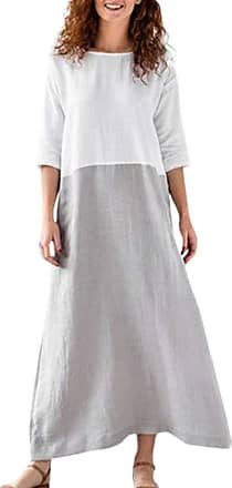Yvelands Maxi Dress for Women Casual Long Sleeve Cotton and Linen Solid Long Dress for Summer Beach Ladies Casual Dress Plus Size Gray