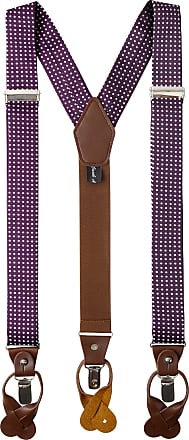 Jacob Alexander Mens Polka Dot Y-Back Suspenders Braces Convertible Leather Ends and Clips - Eggplant