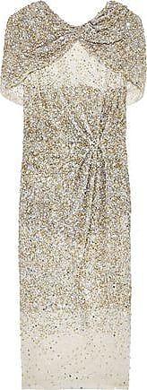 Rachel Gilbert Rachel Gilbert Woman Cape-effect Embellished Tulle Dress Metallic Size 1